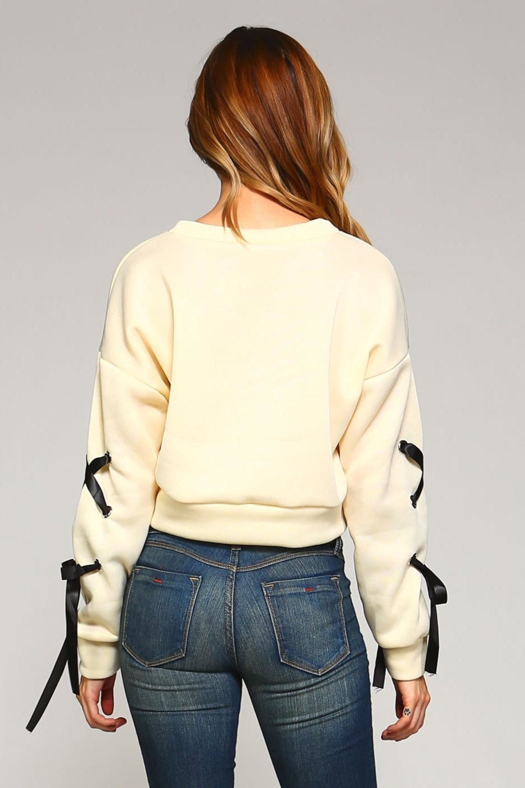 Racine Lace-Up Sleeve Top - Back Cropped Image