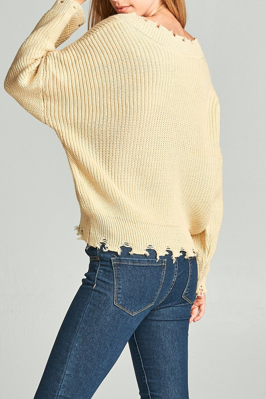 Racine Oversize Frayed Sweater - Side Cropped Image