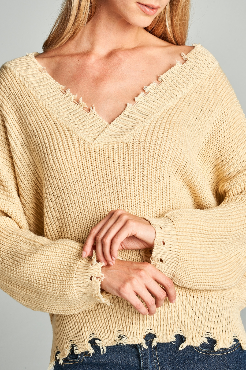 Racine Oversize Frayed Sweater - Back Cropped Image