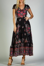 Racine Peacock Print Maxi Dress - Front cropped