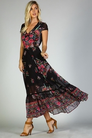 Racine Peacock Print Maxi Dress - Front full body