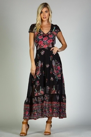 Racine Peacock Print Maxi Dress - Side cropped