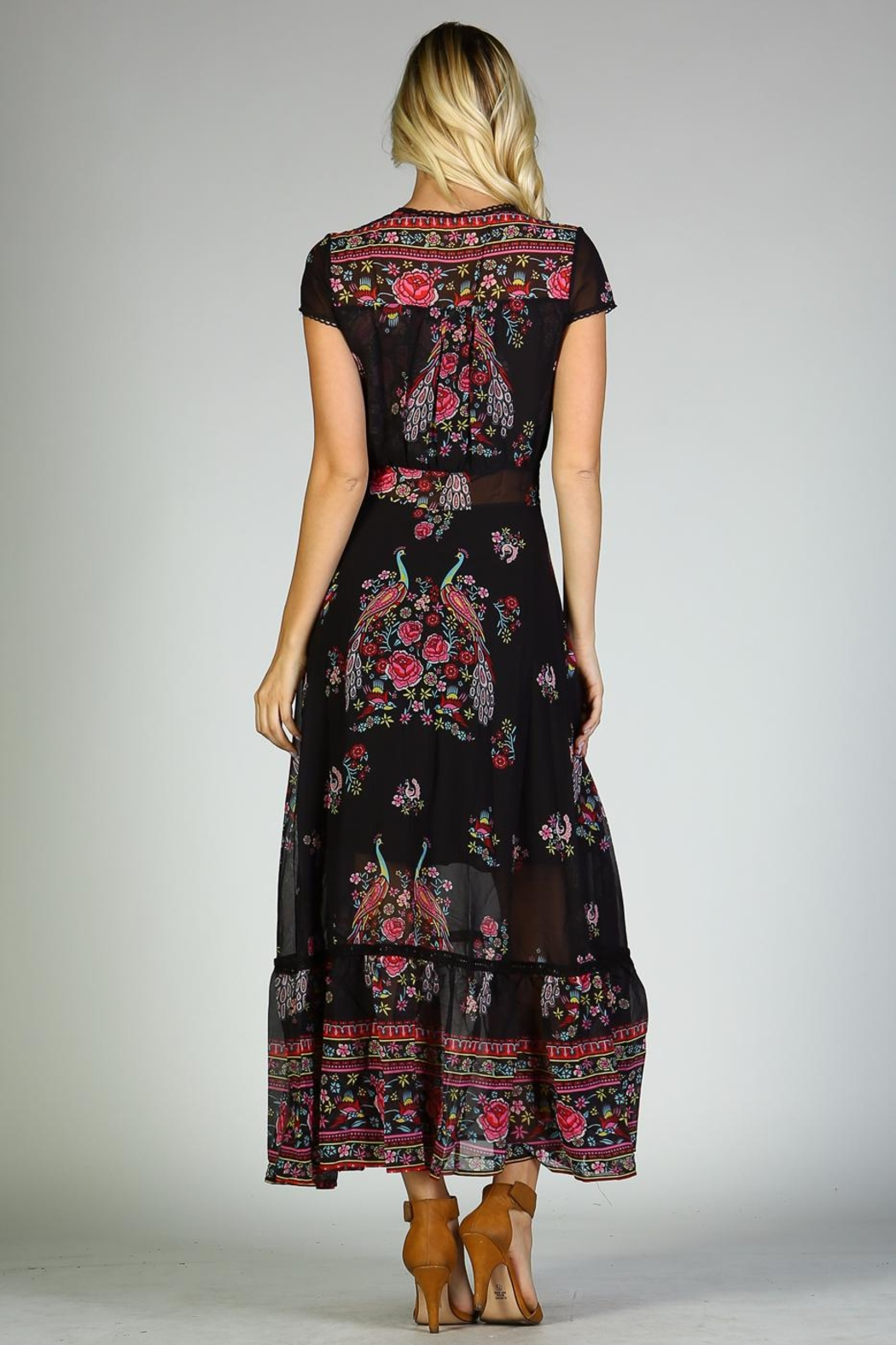 Racine Peacock Print Maxi Dress - Back Cropped Image