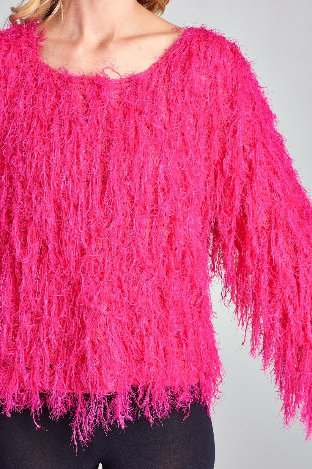 Racine Pink Fur Sweater - Back Cropped Image