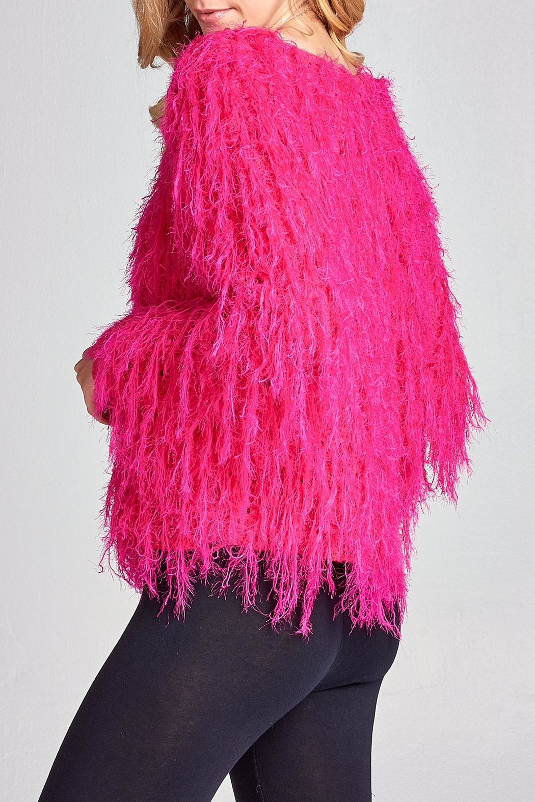Racine Pink Fur Sweater - Side Cropped Image