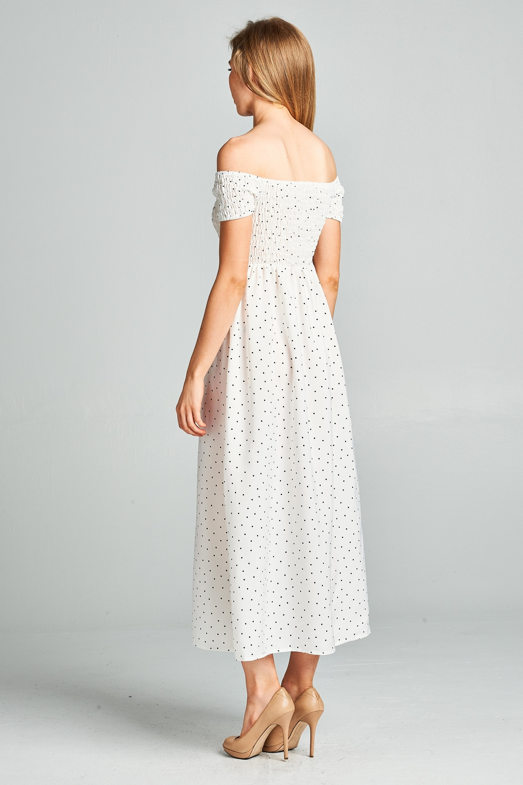 Racine Polka Dot Midi Dress - Back Cropped Image