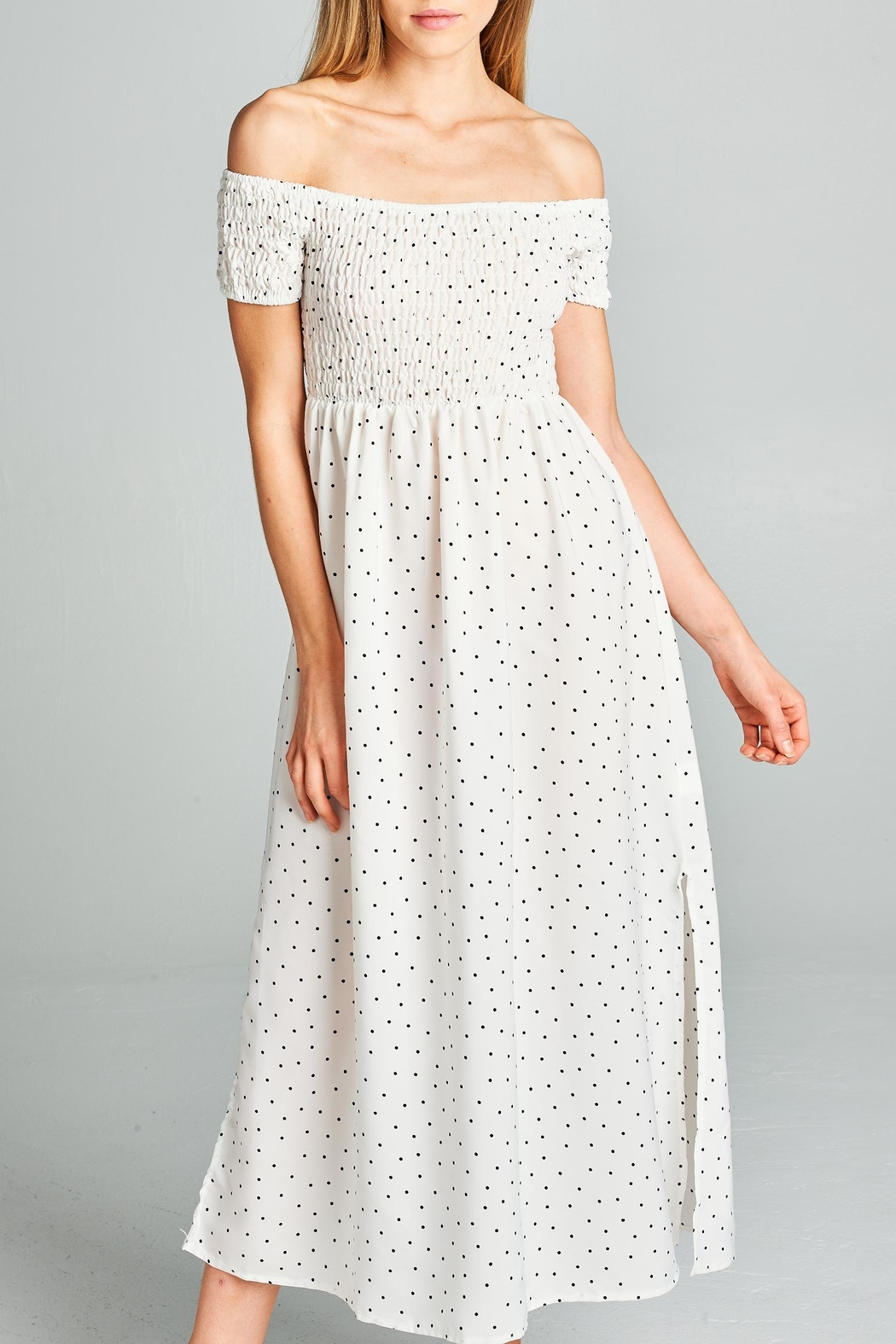 Racine Polka Dot Midi Dress - Side Cropped Image