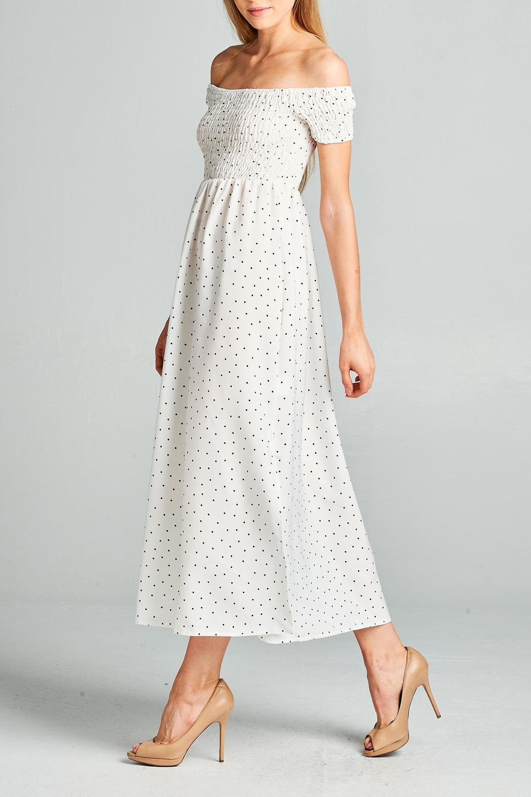 Racine Polka Dot Midi Dress - Front Full Image