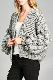 Racine Pompom Sleeve Cardigan - Product Mini Image