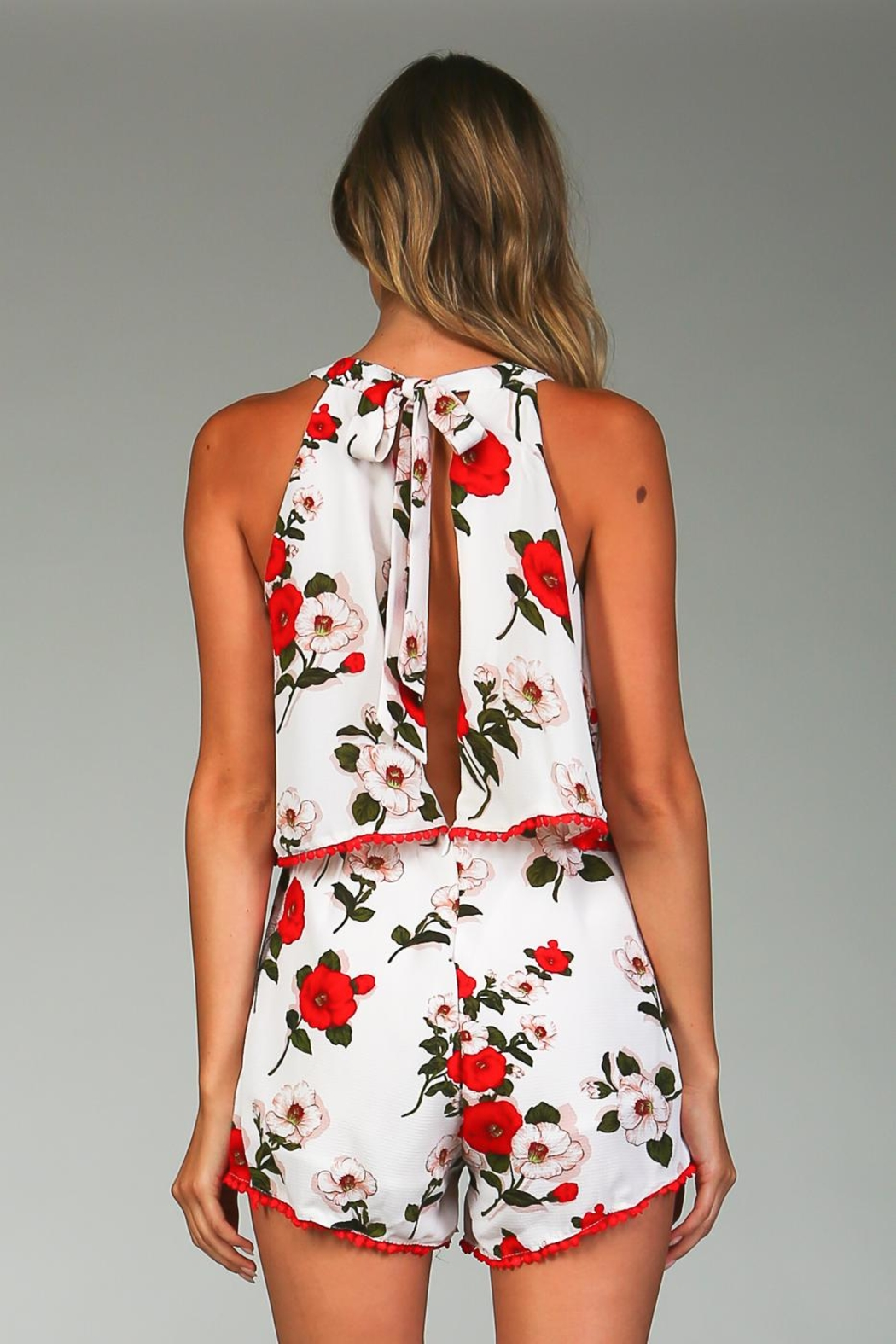 Racine White Floral Romper - Back Cropped Image