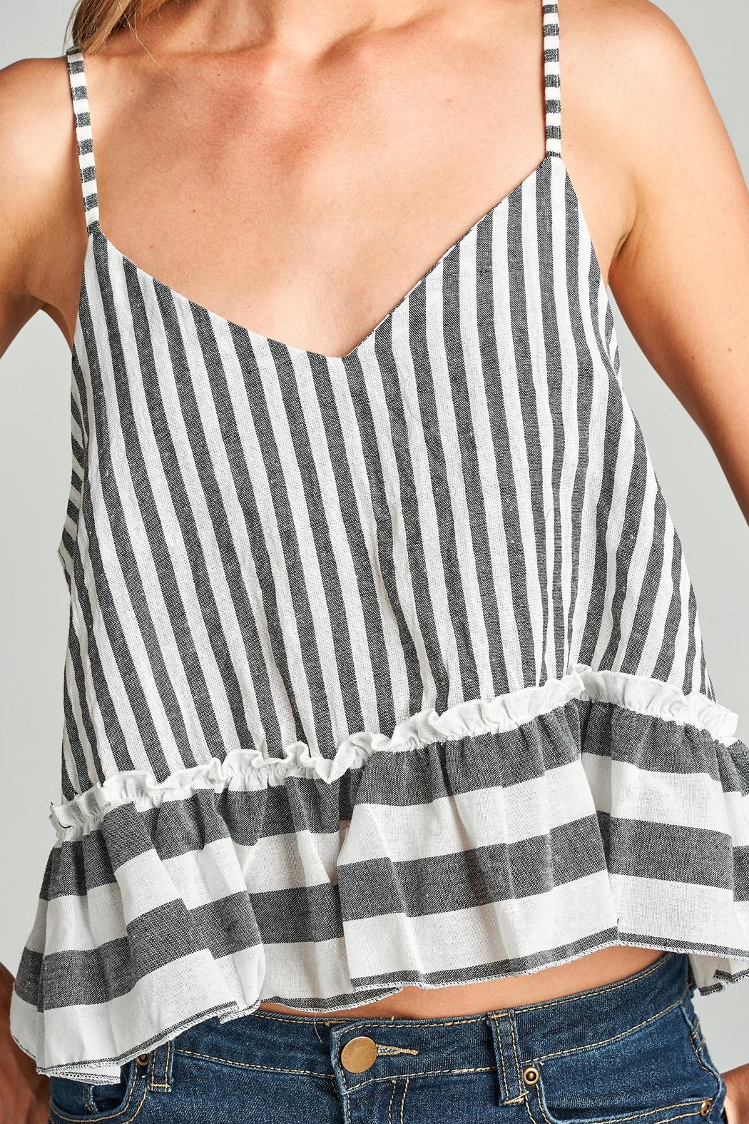 Racine Striped Crop Top - Back Cropped Image