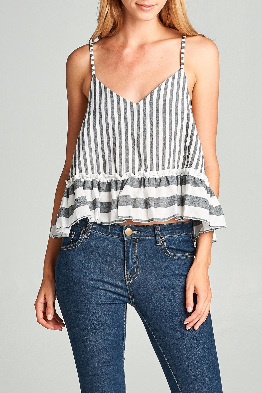 Racine Striped Crop Top - Front Cropped Image