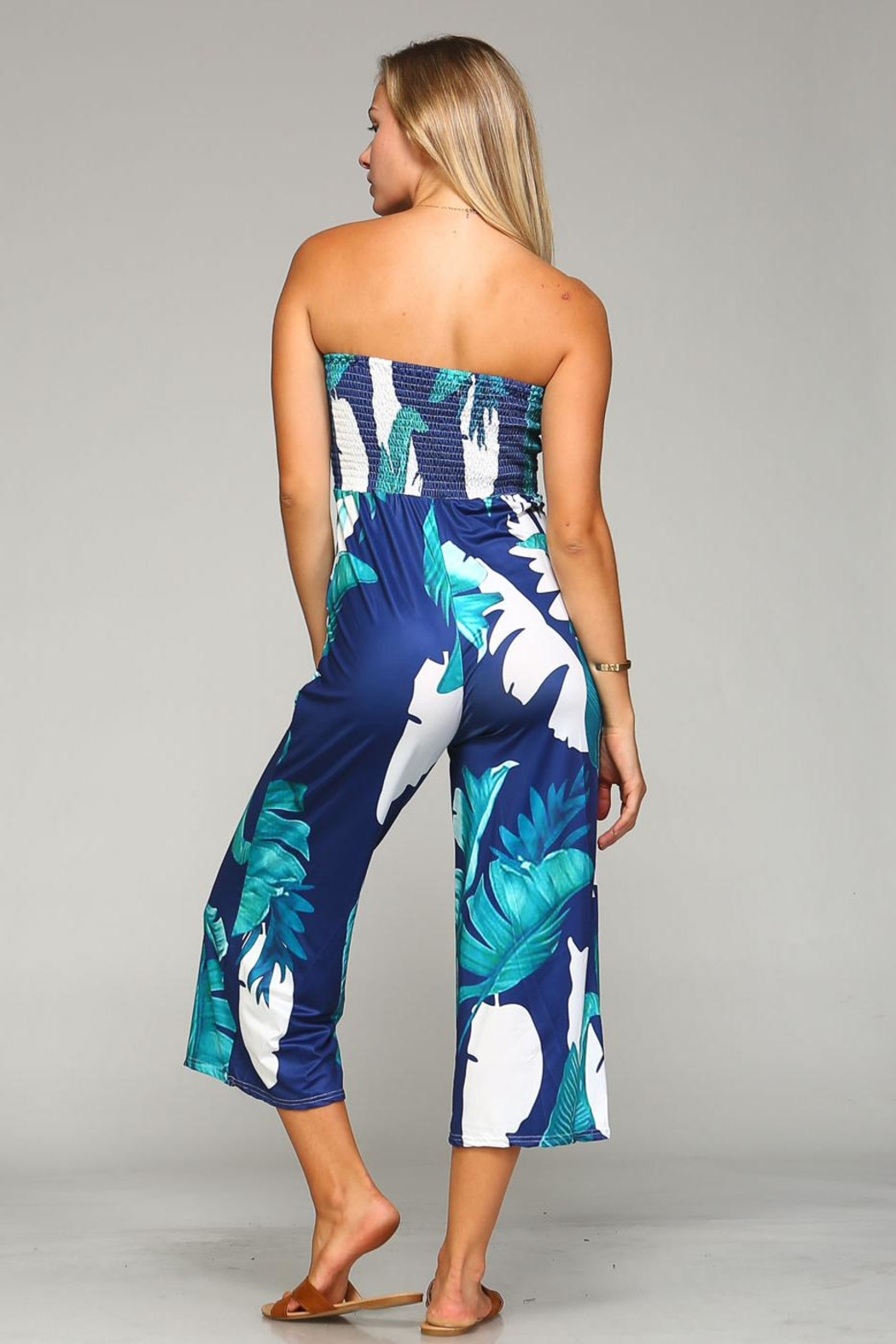 Racine Tropical Print Jumpsuit - Back Cropped Image