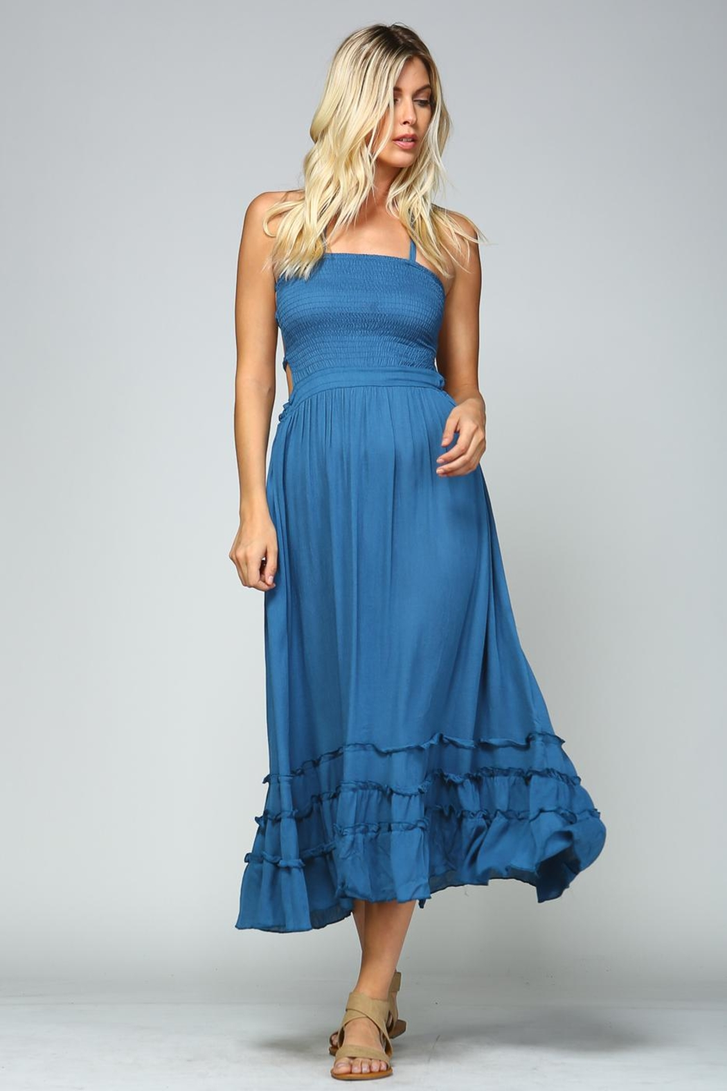 Racine Tropical Solid Dress - Side Cropped Image