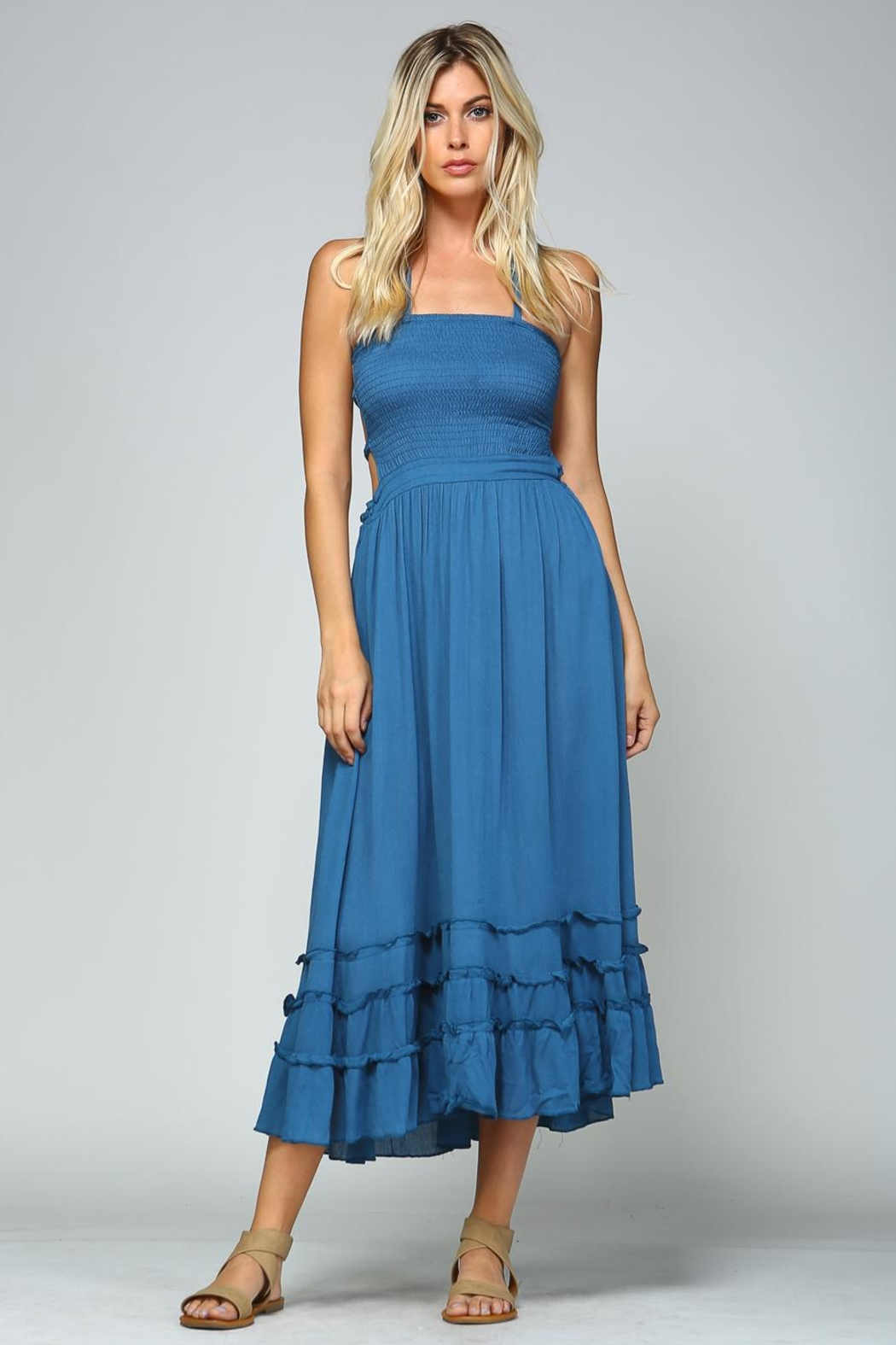 Racine Tropical Solid Dress - Front Full Image