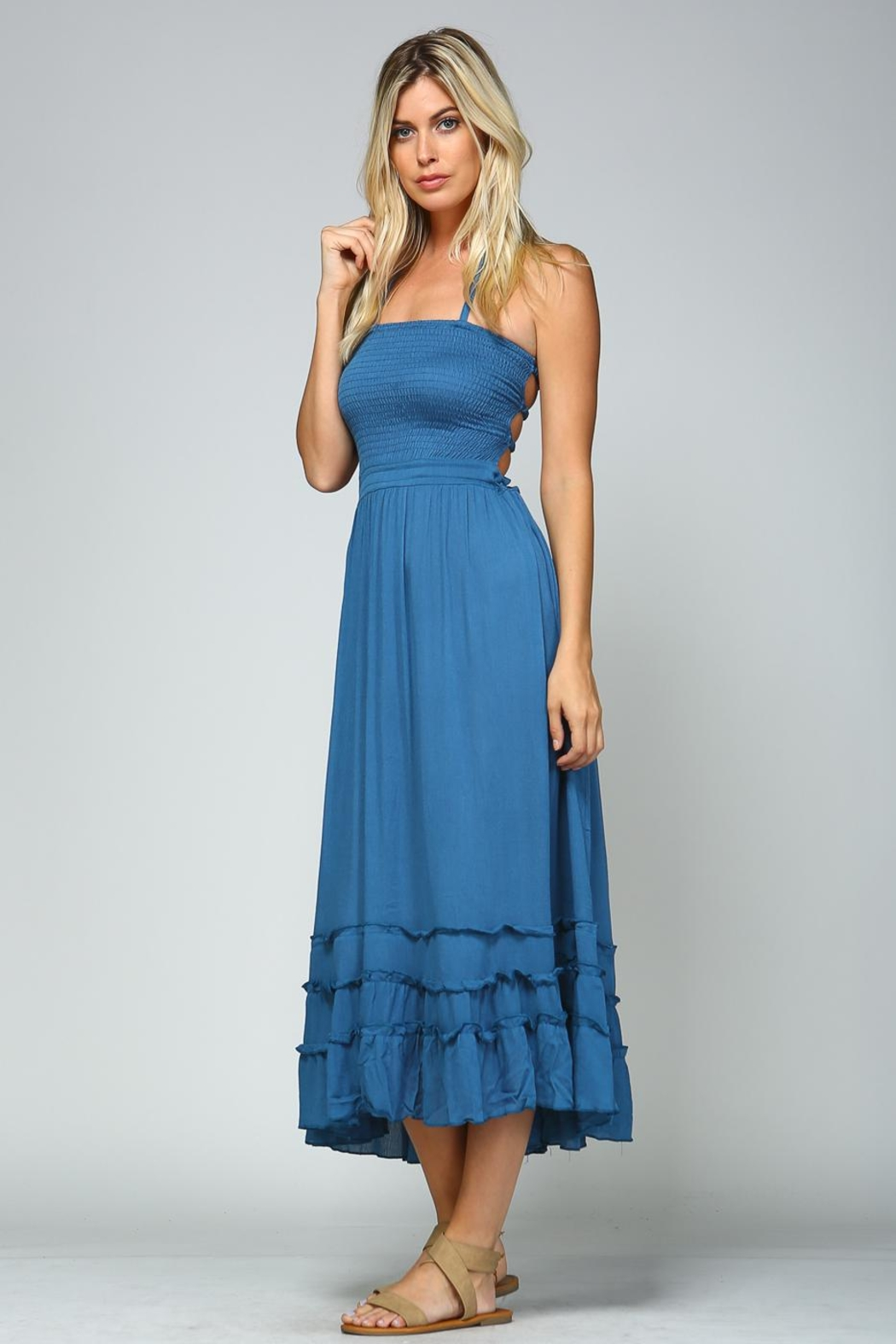 Racine Tropical Solid Dress - Back Cropped Image