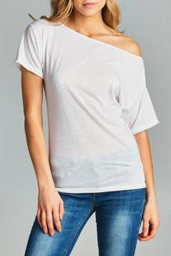 Racine White One Shoulder Tee - Product List Image