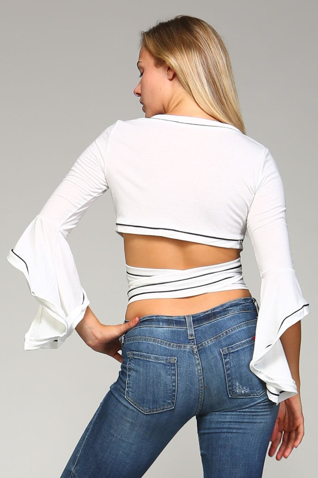 Racine Wrap Tie Crop Top - Side Cropped Image