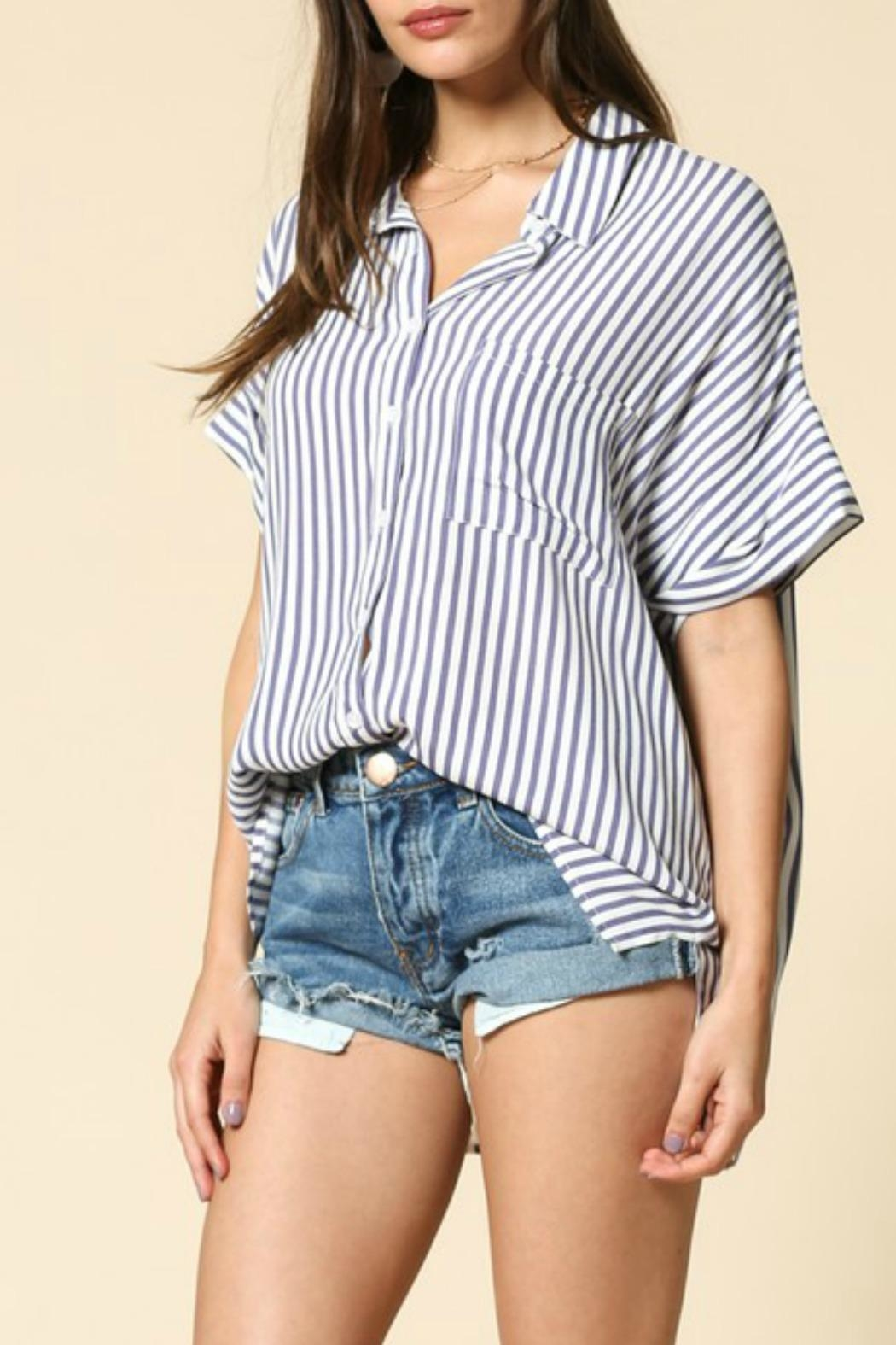 By Together Raegan Striped Top - Back Cropped Image