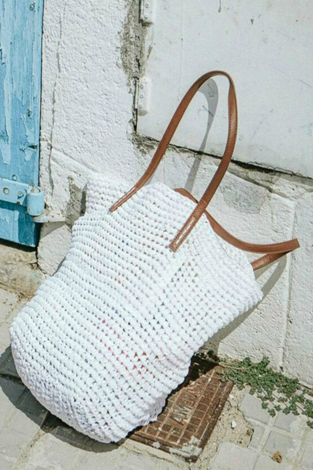 Love Stitch Raffia Bucket Bag - Front Cropped Image