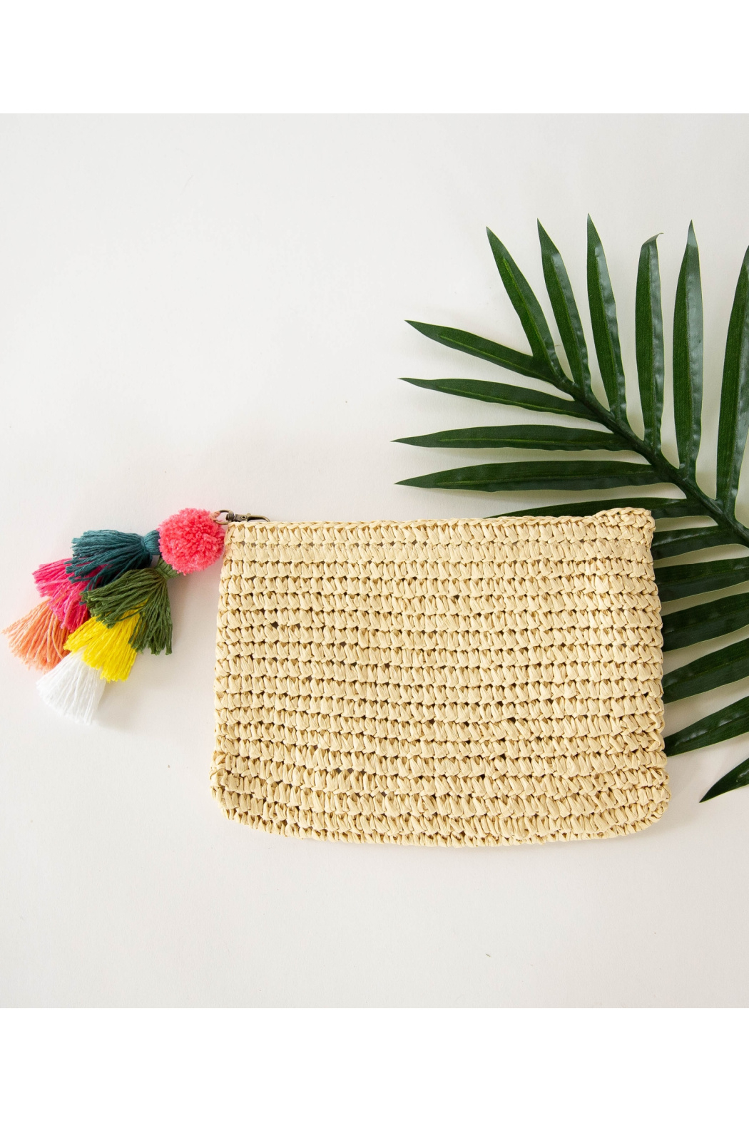 Funky Monkey Fashion Raffia Zip Top Clutch (Lined with Polka Dot Fabric) - Front Cropped Image