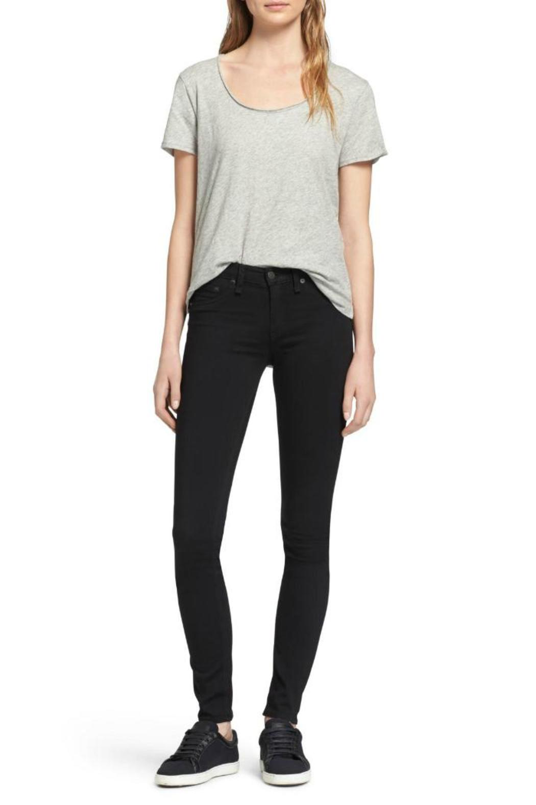 Rag & Bone Legging In Black Plush Jeans - Back Cropped Image