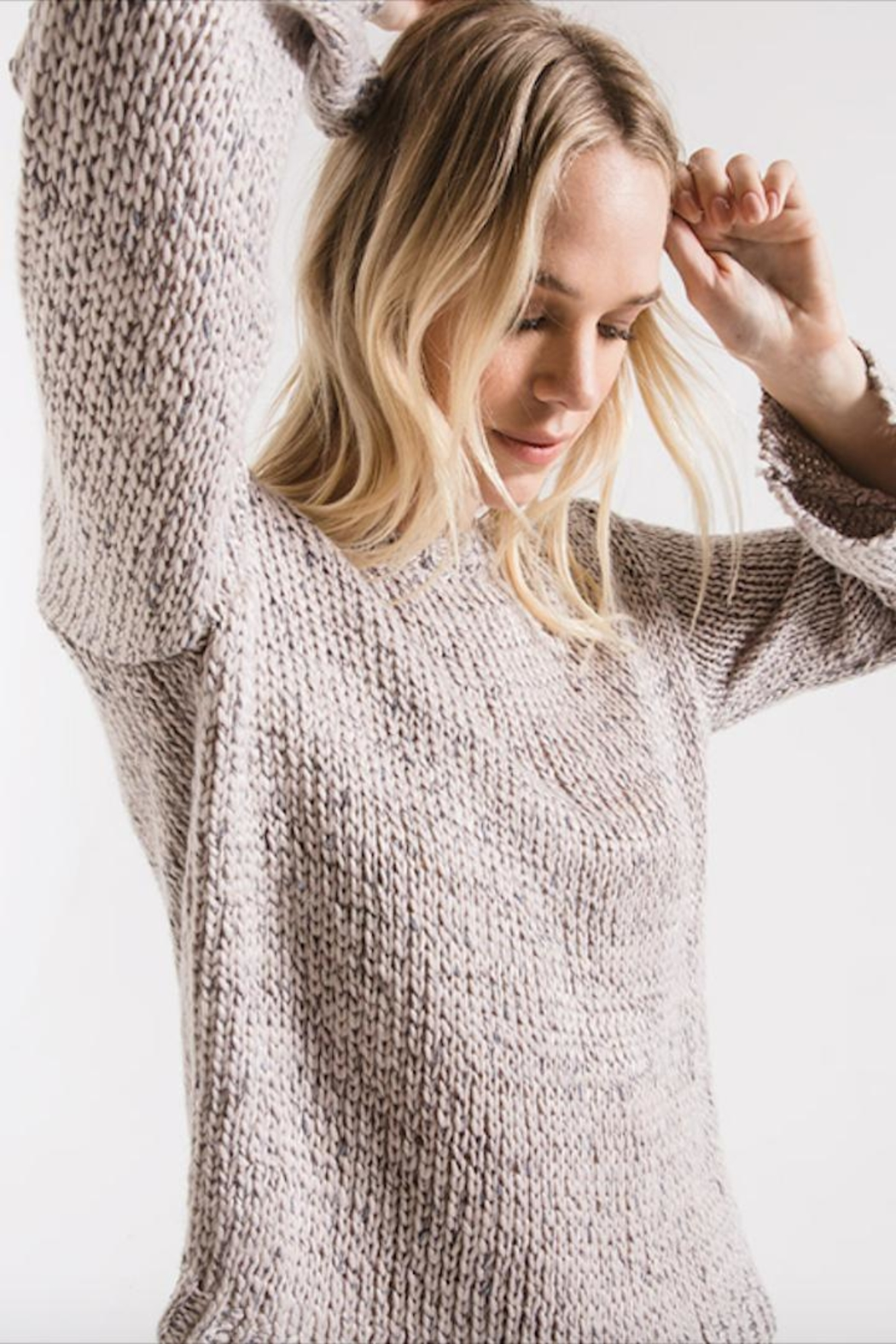 rag poet Stormy-Grey Knit Sweater - Side Cropped Image