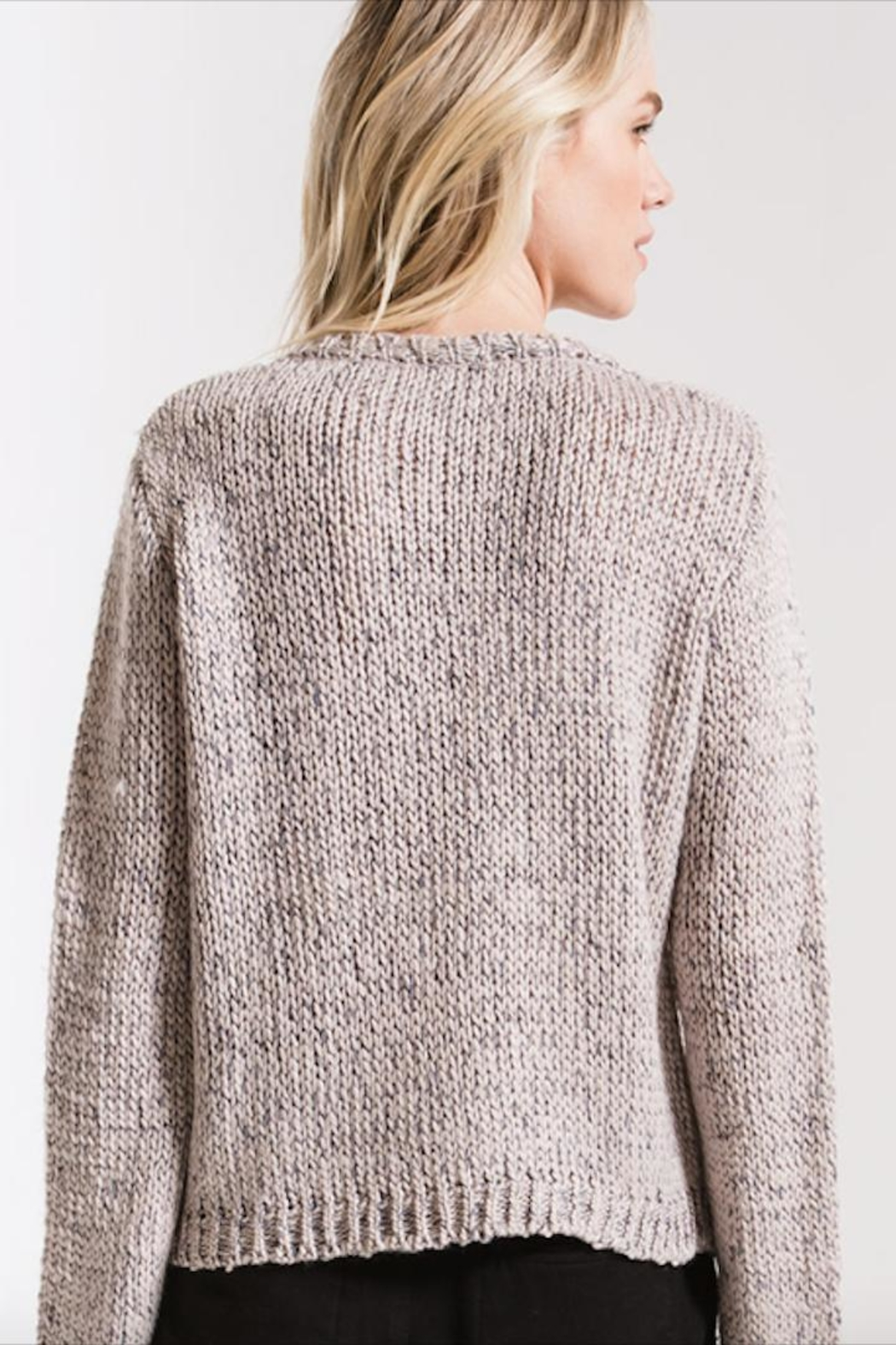 rag poet Stormy-Grey Knit Sweater - Front Full Image