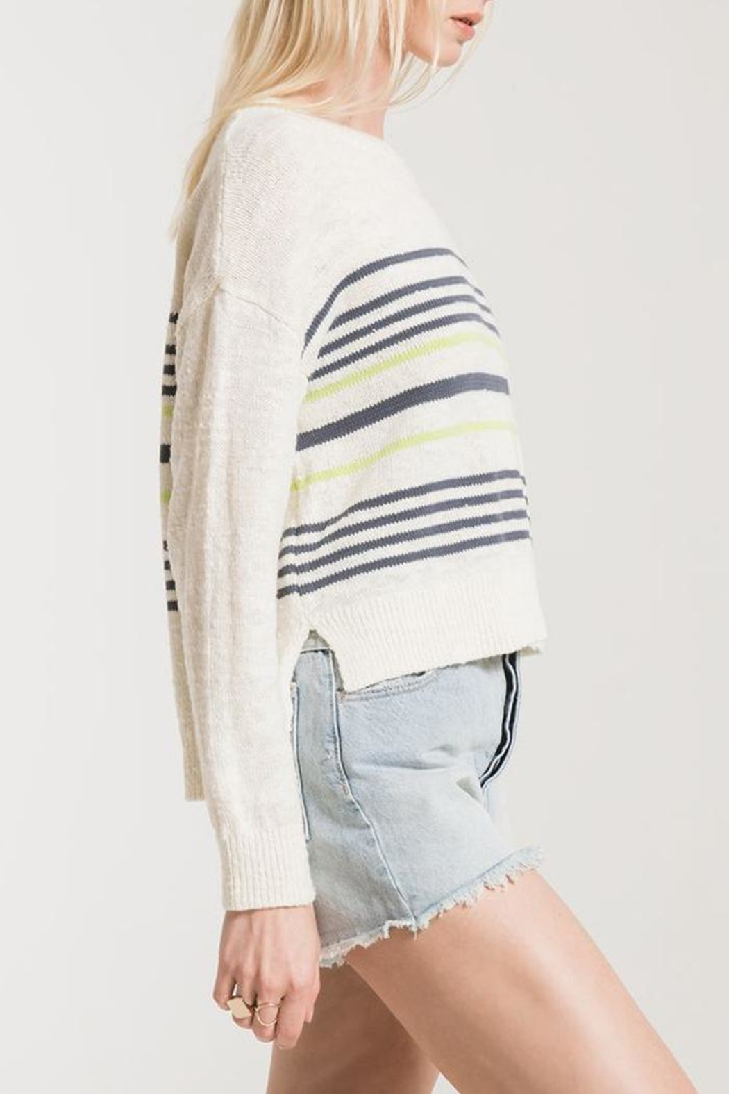 rag poets Avelino Striped Sweater - Side Cropped Image