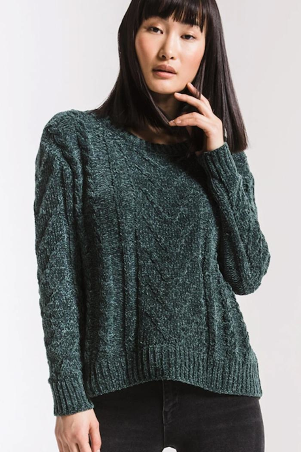 rag poets Cable-Knit Chenille Sweater - Main Image