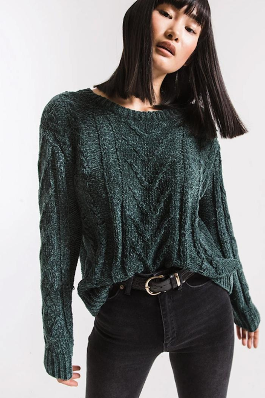 rag poets Cable-Knit Chenille Sweater - Front Full Image