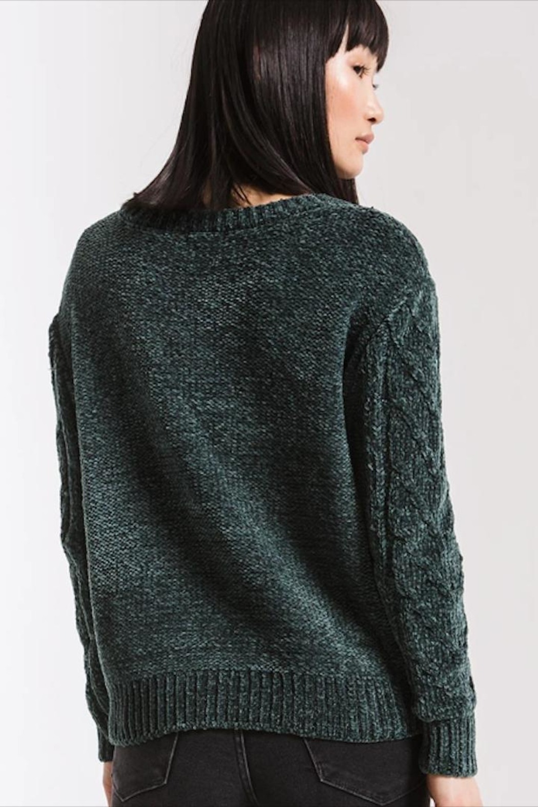 rag poets Cable-Knit Chenille Sweater - Side Cropped Image