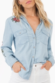 rag poets Embroidered Denim Shirt - Product Mini Image