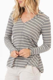 rag poets Everest Striped-Hooded Top - Product Mini Image