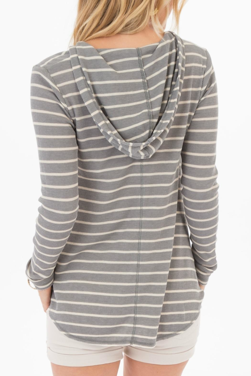rag poets Everest Striped-Hooded Top - Front Full Image