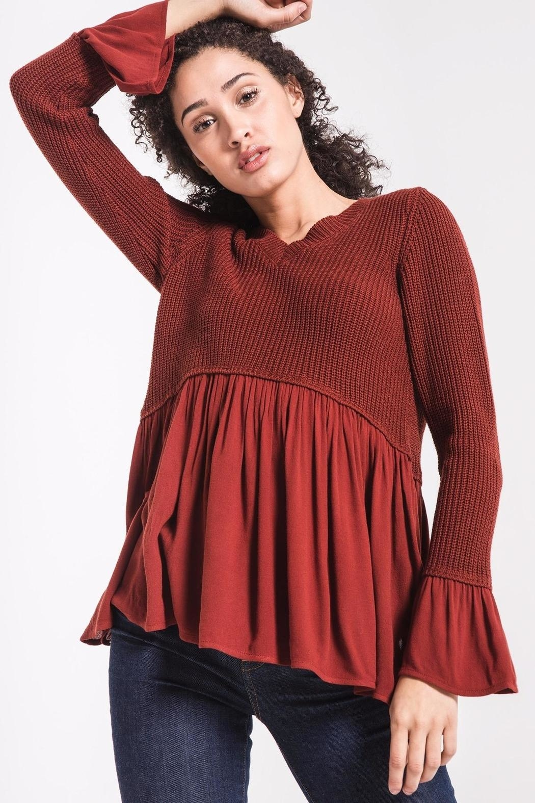 rag poets Knit Peplum Sweater - Back Cropped Image