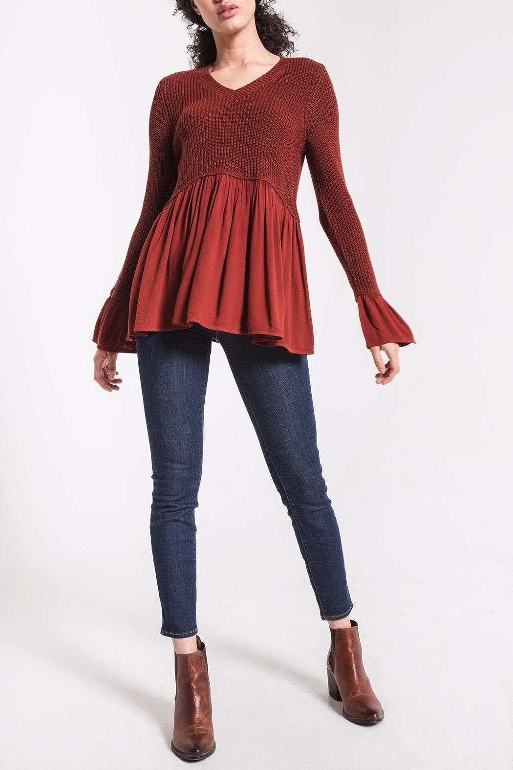 rag poets Knit Peplum Sweater - Main Image