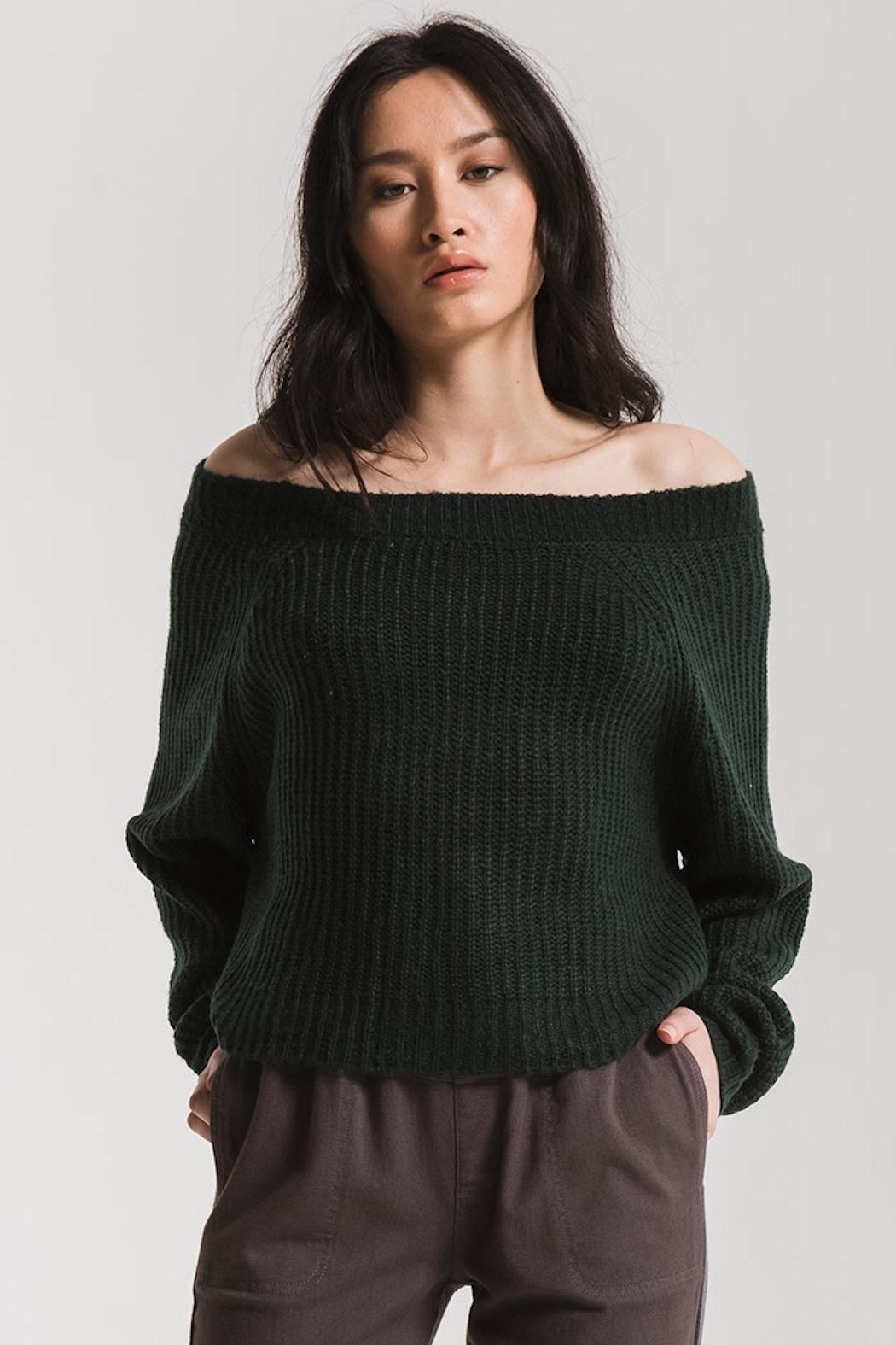 rag poets Off Shoulder Sweater - Front Cropped Image