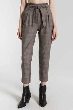 rag poets Plaid Belted Trousers - Product List Image