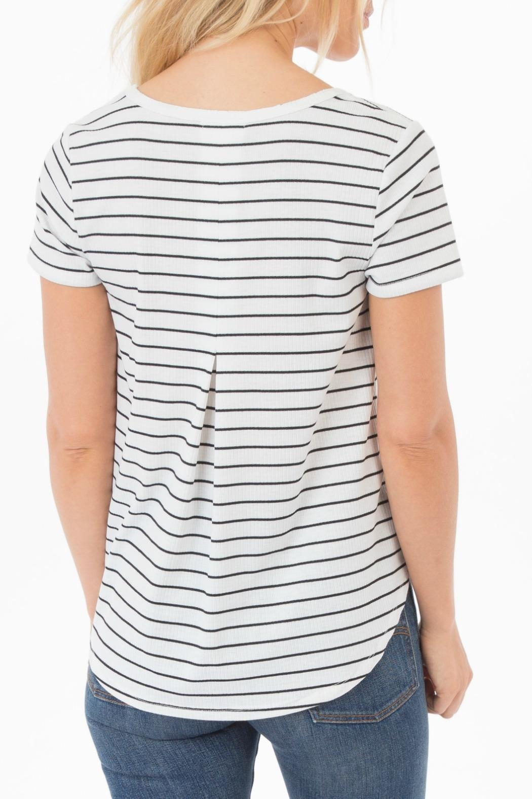 rag poets Ribbed Knit-Stripe Tee - Front Full Image