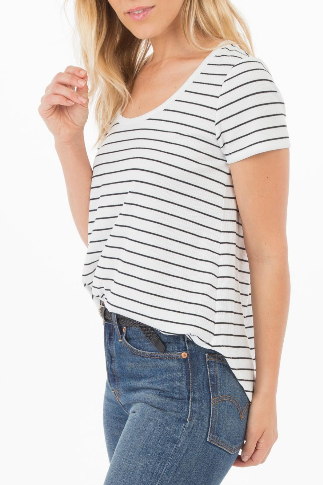 rag poets Ribbed Knit-Stripe Tee - Side Cropped Image