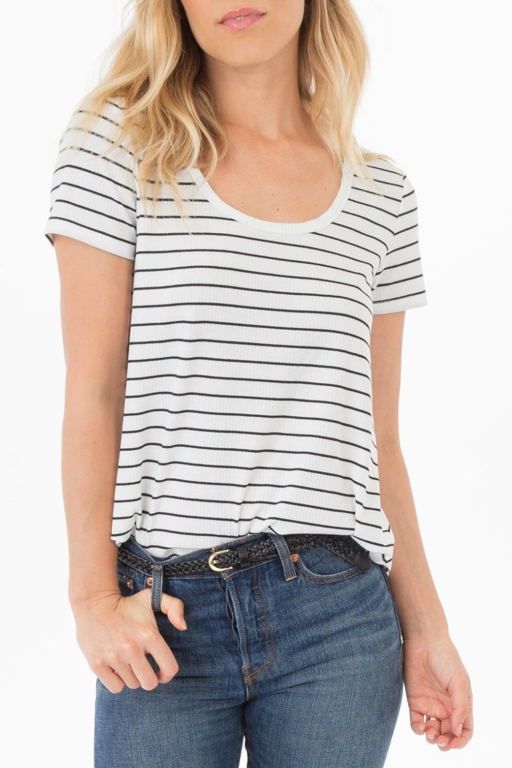 rag poets Ribbed Knit-Stripe Tee - Main Image