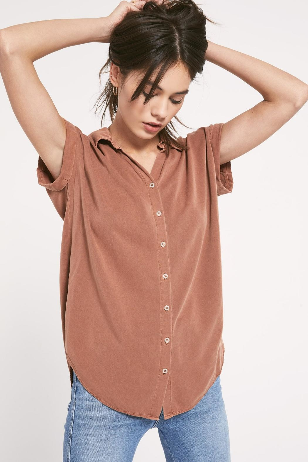 rag poets Rinella Top- Cinnamon - Front Cropped Image