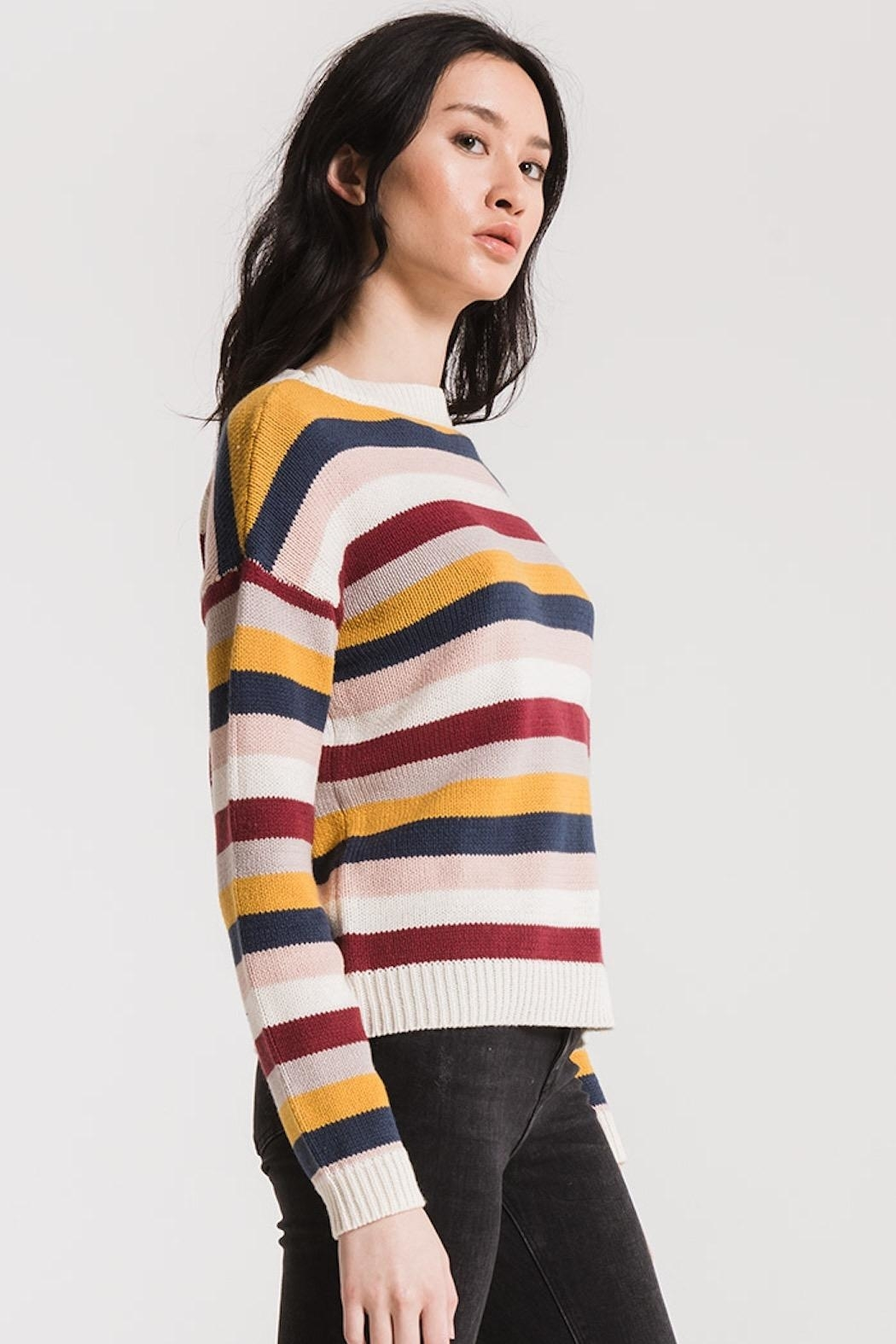 rag poets Smith Striped Sweater - Front Full Image