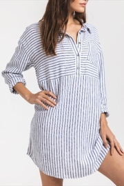 rag poets Striped Button-Front Tunic - Front full body