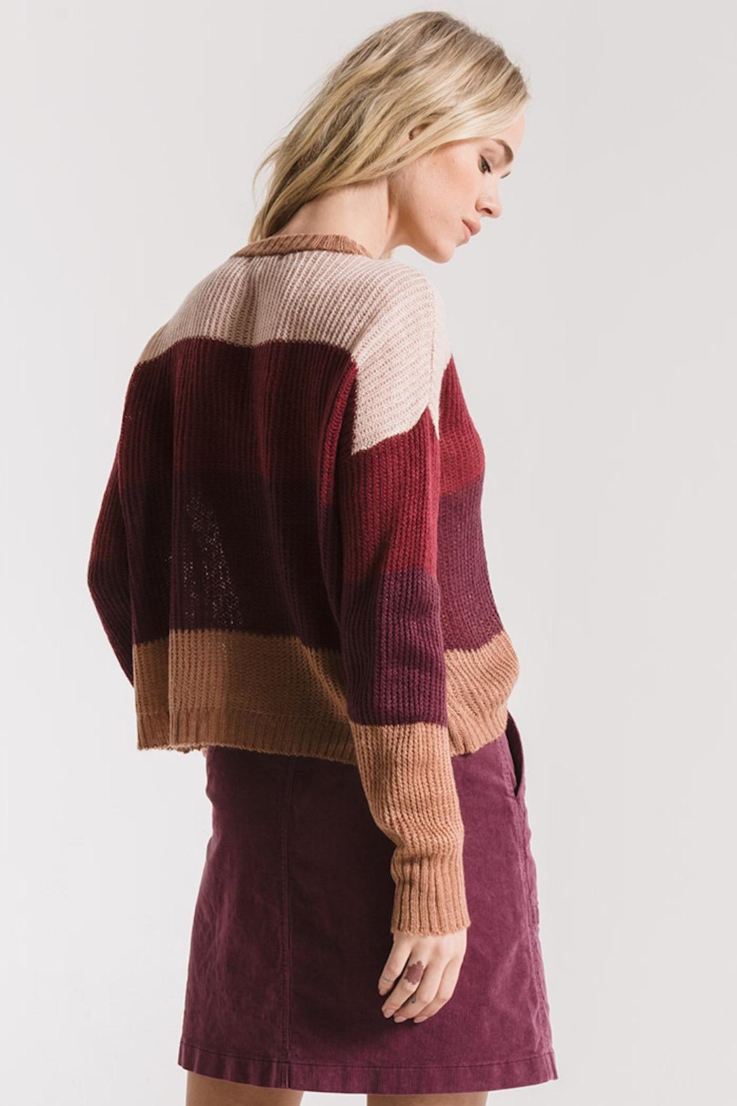 rag poets Striped Warren Sweater - Side Cropped Image