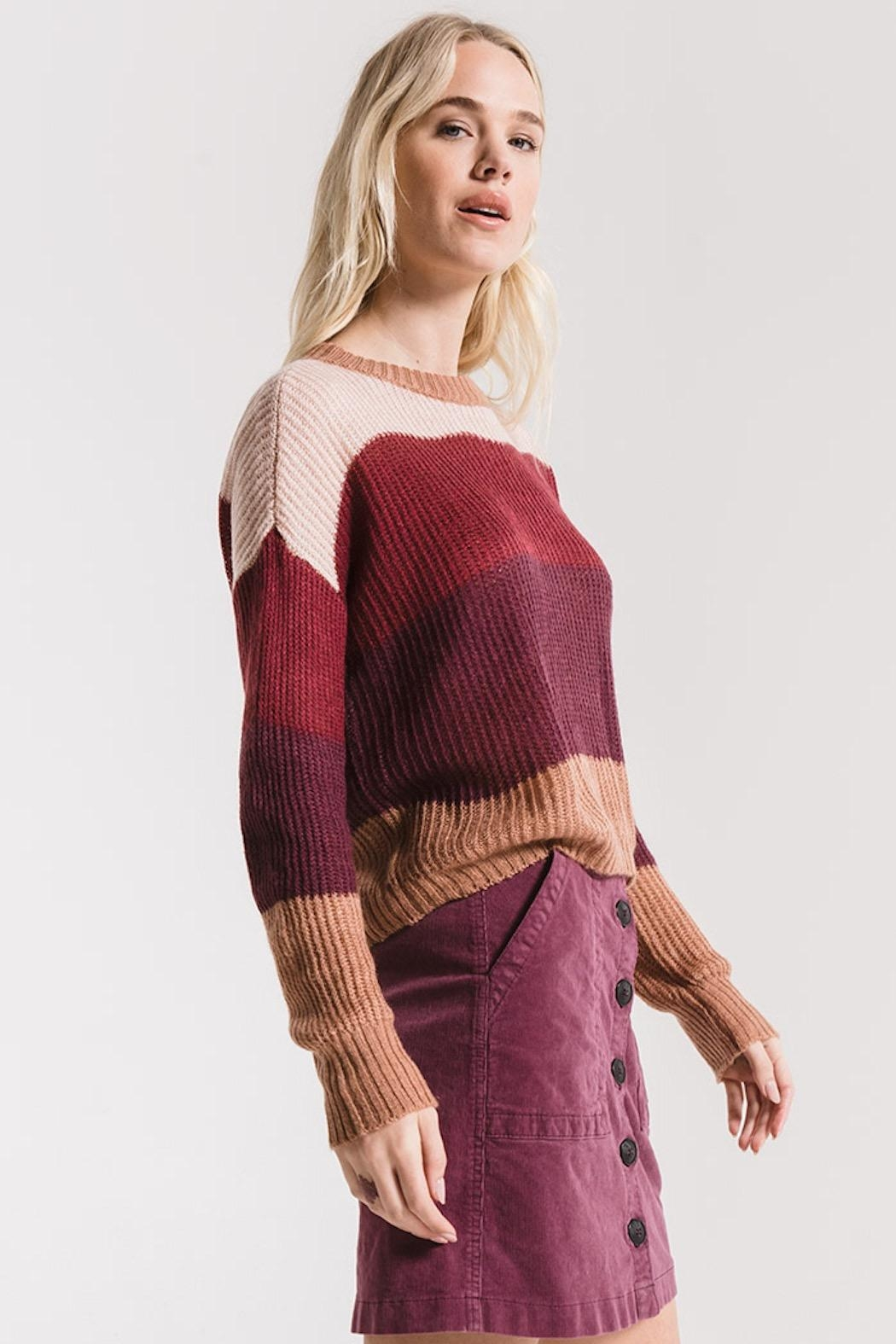 rag poets Striped Warren Sweater - Back Cropped Image