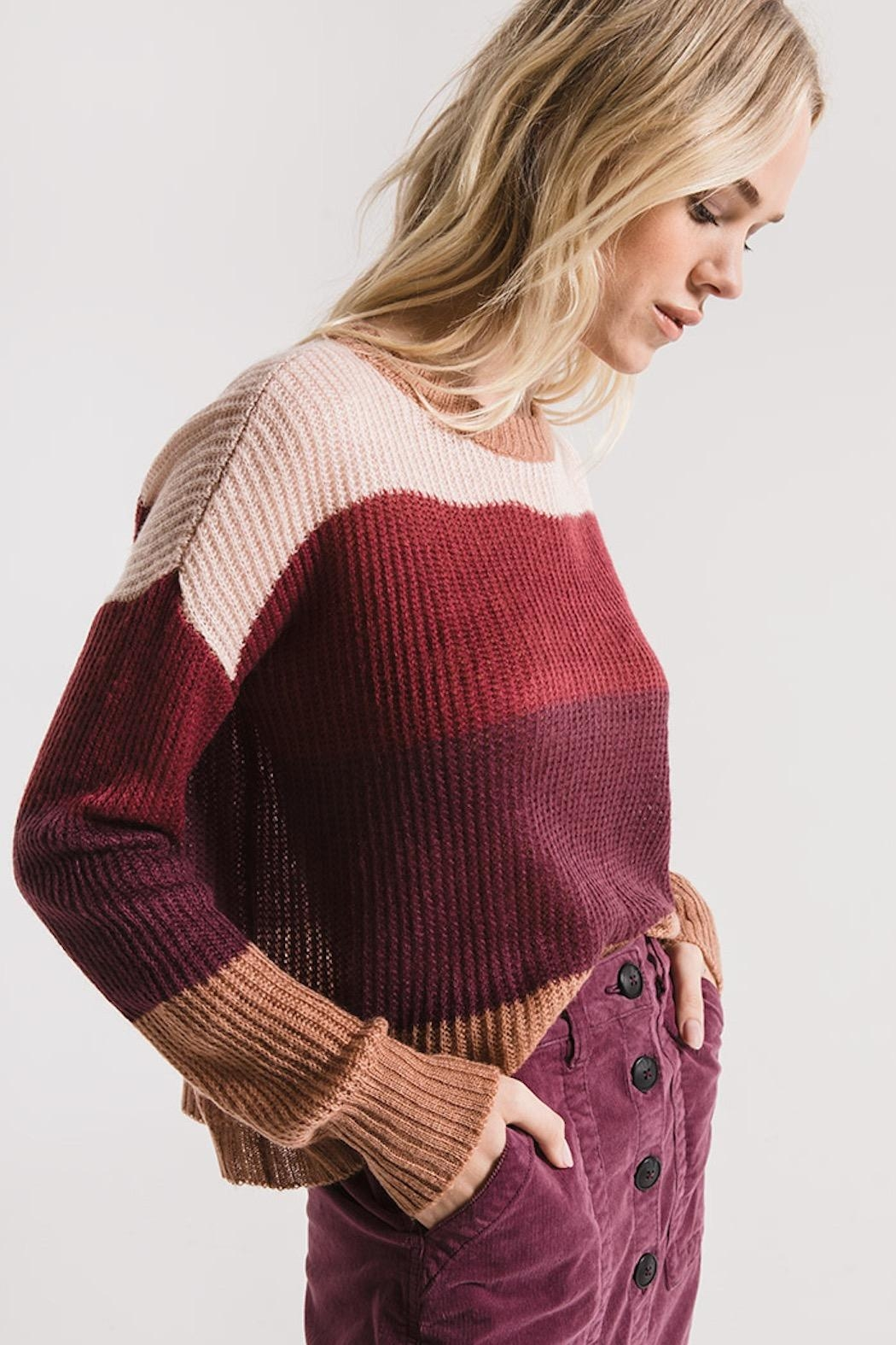 rag poets Striped Warren Sweater - Front Full Image