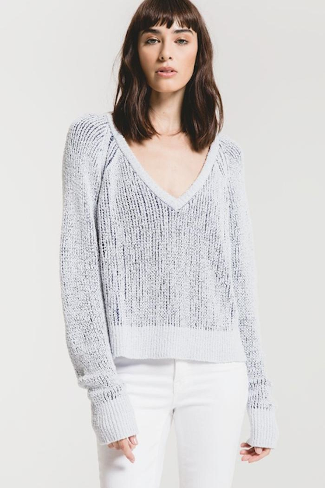 rag poets Two-Tone V-Neck Sweater - Main Image