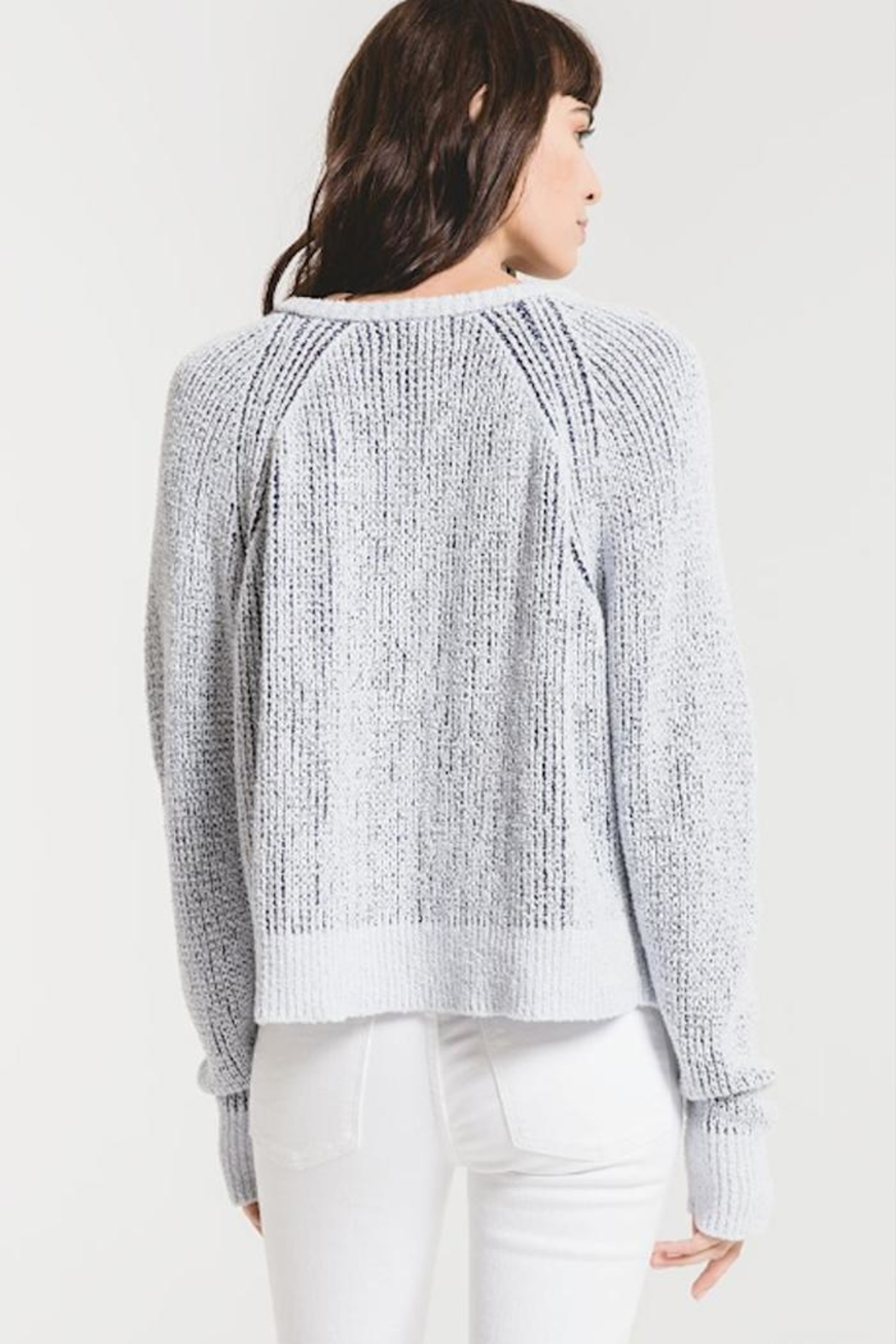 rag poets Two-Tone V-Neck Sweater - Side Cropped Image